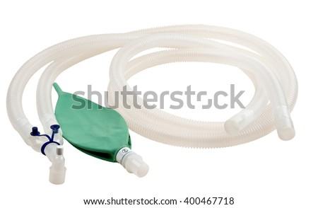 Circuit anesthesia breathing corrugated. corrugated tube isolated on white - stock photo