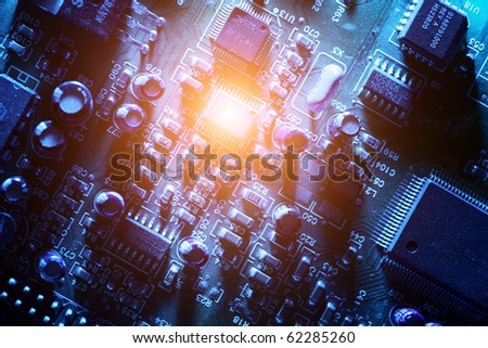 Circuit board abstract background texture. Macro close-up. - stock photo