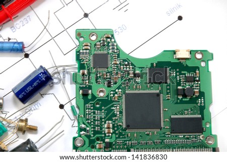 Circuit board and electronic components - stock photo