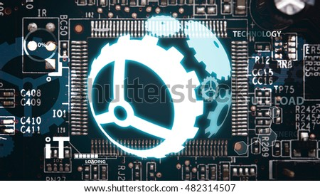 Circuit board background : gear system