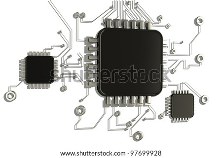 Circuit board.background high resolution 3d digitally generated image - stock photo