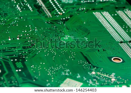 circuit board background of computer motherboard and electronics