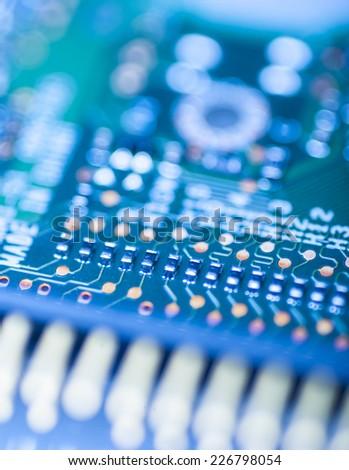 circuit board close up - stock photo