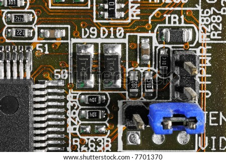 Circuit Board Closeup - Blue Jumper - dust/grime covered