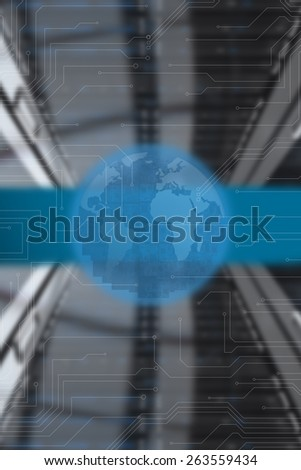 Circuit board earth against black and grey circuit board - stock photo
