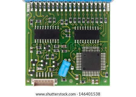 Circuit Board from interface isolated on white with clipping path - stock photo