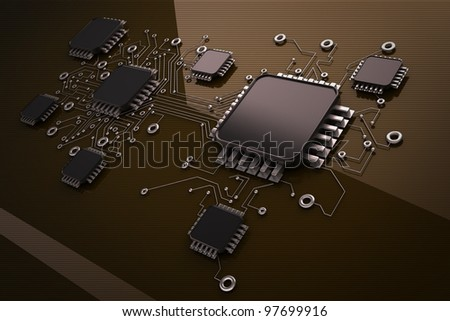 Circuit board. high resolution 3d digitally generated image.