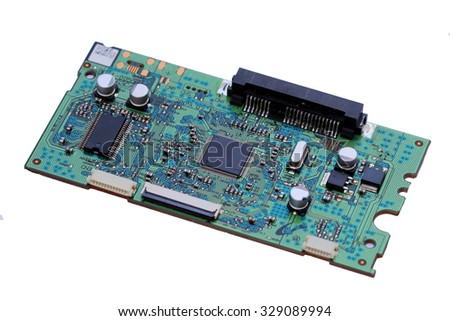 Circuit board isolated on a white background. - stock photo