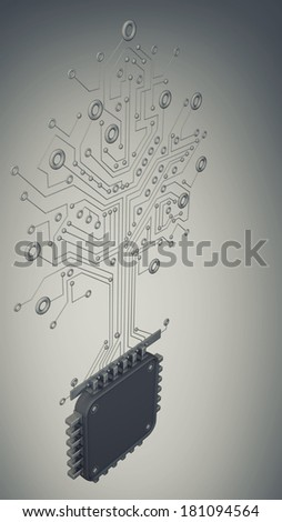 Circuit board virus. high resolution 3d digitally generated image.  - stock photo