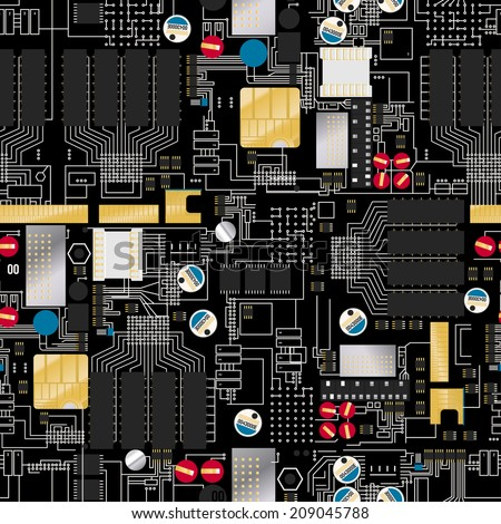 Circuit board with components and wires seamless pattern . - stock photo