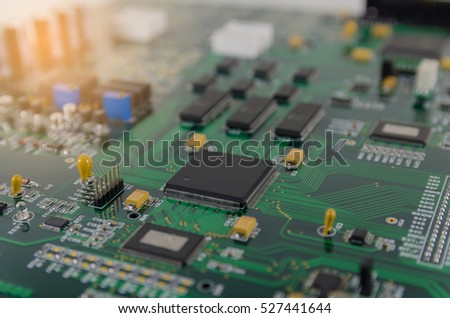 circuit board with electronic components.