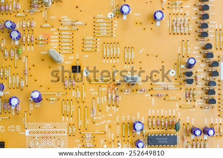 Circuit board with electronic components for background. - stock photo