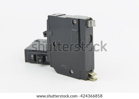 Circuit Breaker on isolate white. - stock photo