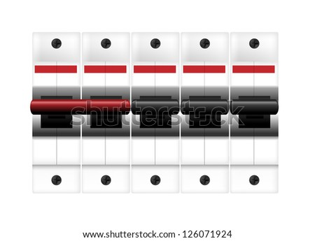 Circuit breakers on white. illustration - stock photo