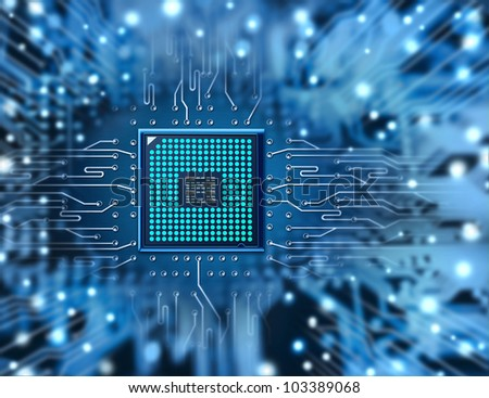 circuit with processor - stock photo