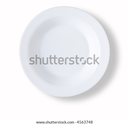 circular blank and empty white dish over white background with shadow - stock photo