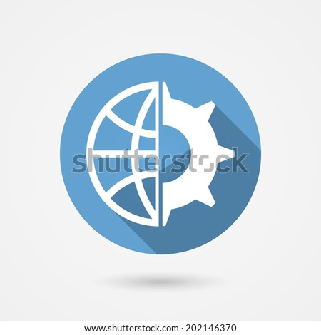 Circular blue global technology icon with a globe and gear wheal for tachnological research and industry - stock photo