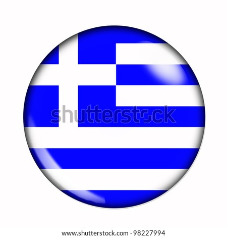 Circular,  buttonised flag of Greece - stock photo