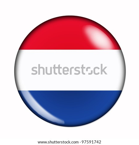 Circular,  buttonised flag of Holland - stock photo