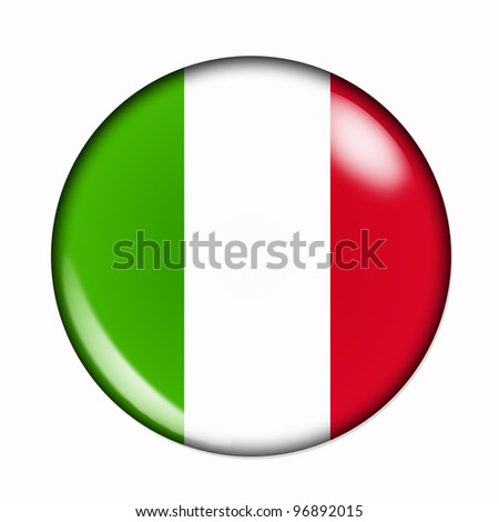 Circular,  buttonised flag of Italy - stock photo