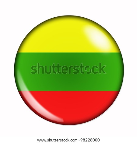 Circular, buttonised flag of Lithuania - stock photo