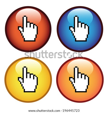 circular buttons with cursor of hand