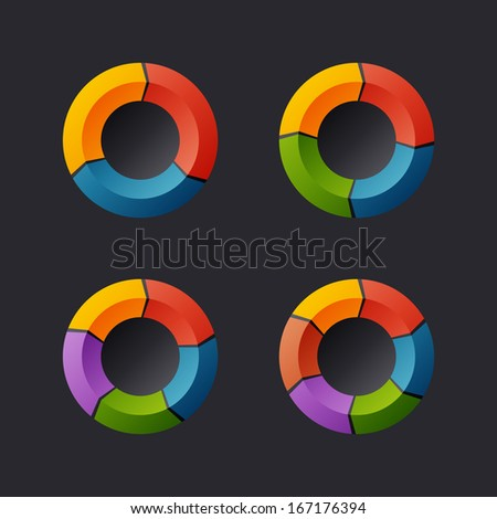 Circular Chart Template Set. Raster Version - stock photo