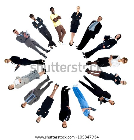 Circular collage of various people belonging to different concepts - stock photo