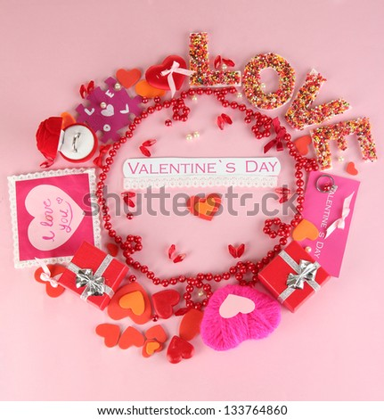 Circular composition Valentine\'s Day on pink background - stock photo