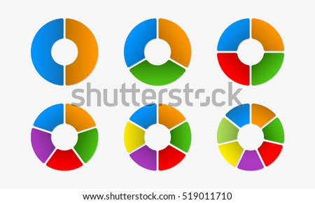 Circular diagram set. Circle infographics concept with 2,3,4,5,6,7 steps, parts, levels or options.