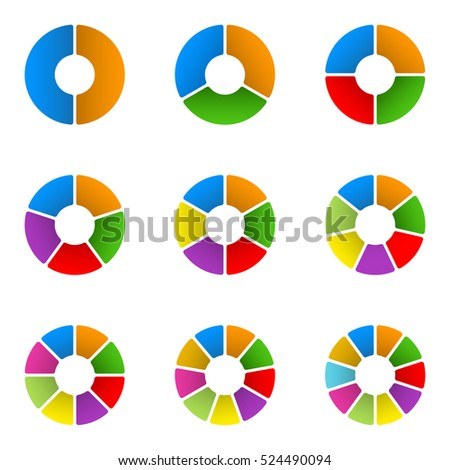 Circular diagram set. Pie chart template. Circle infographics concept with 2,3,4,5,6,7,8,9,10 steps, parts, levels or options.