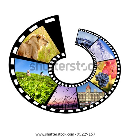 Circular film strip with multiple travel destinies.Isolated - stock photo