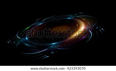 Circular lens flare. Abstract rotational galaxy. Beautiful ellipse border. Luxury shining hole. Rotational lines. Power energy element. Space for message. 3D illustration. Abstract ring background. - stock photo
