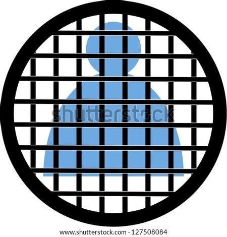 circular mark-man behind bars - stock photo