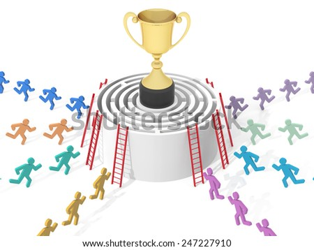 Circular Maze with Gold Cup. Computer Rendered Graphic for the Business Concept - stock photo