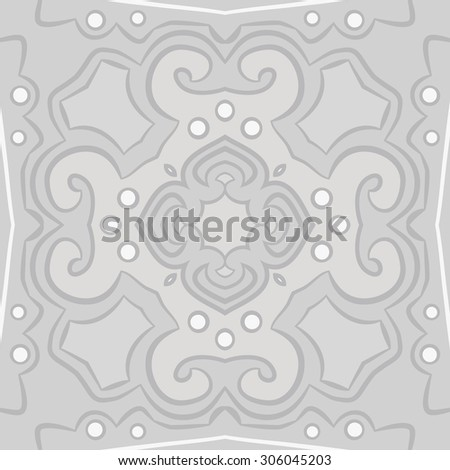 Circular   pattern of floral motif, stripes,hole, spots, ellipses,  cross, star. Hand drawn.