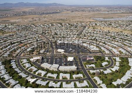 Circular pattern of rooftops in Sun City. Arizona - stock photo