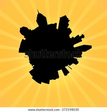 Circular Philadelphia skyline on sunburst illustration - stock photo