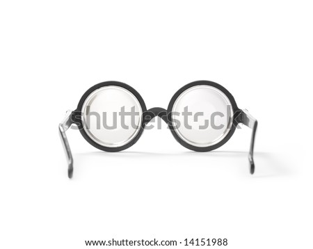Circular prescription glasses isolated on white. - stock photo