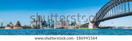 Circular Quay and Opera House, Harbor Bridge,Sydney, Australia - stock photo