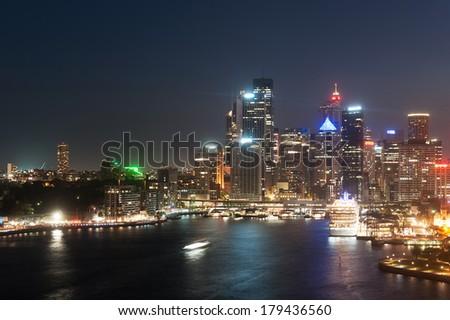 Circular Quay night scene in Sydney, New South Wales, Australia. - stock photo