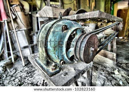 Circular saw in the workshop - stock photo