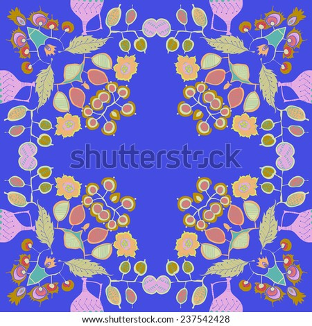 Circular seamless pattern of colored floral motifs   on a blue background. Handmade.