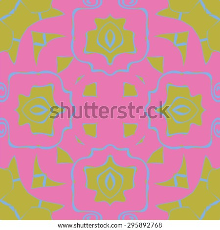 Circular seamless  pattern of decorative flower, spirals, spots, hole, cross. Hand drawn.