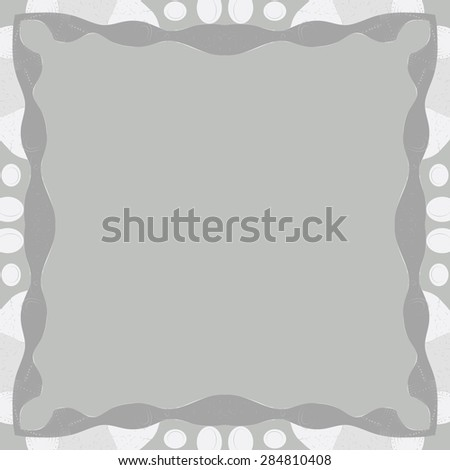 Circular  seamless pattern of  decorative frame, spots,ellipses, wave, copy space. Hand drawn.