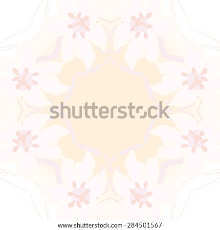 Circular  seamless pattern of  floral garland, flowers, branches, stamens,leaves, copy space. Hand drawn.