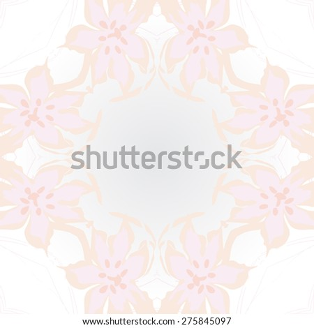 Circular seamless pattern of floral motif, flowers, leaves, ellipses. Hand drawn.