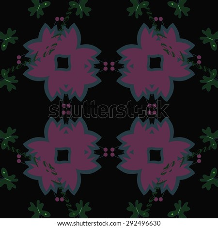 Circular seamless  pattern of floral motif, stylized flowers , text, butterfly, copy space. Hand drawn.