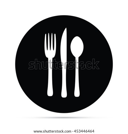 Circular Silverware Icon with Fork Knife & Spoon.  Raster Version - stock photo