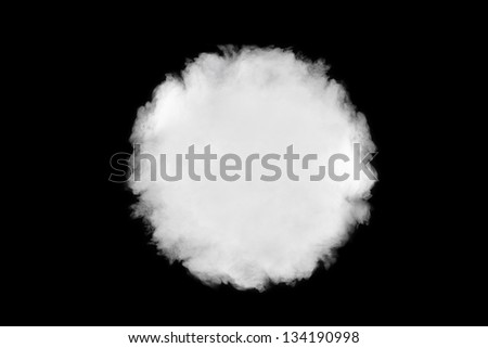 circular smoke cloud background, isolated on black - stock photo